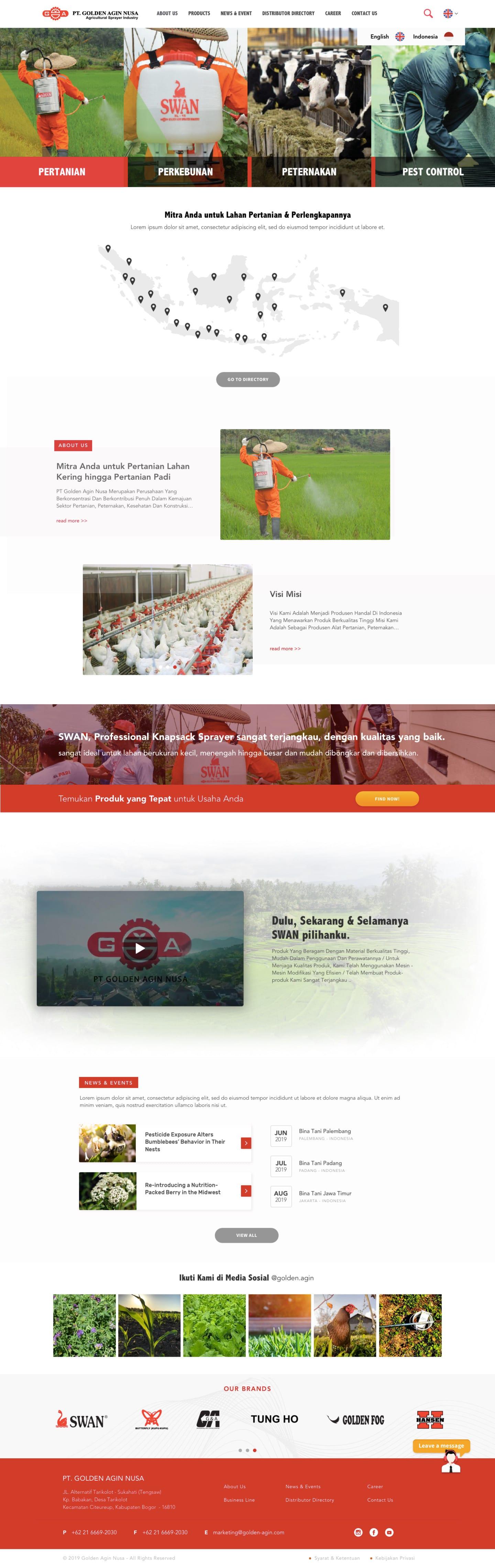 portfolio popout.id web development agency jakarta client Golden Agin Website