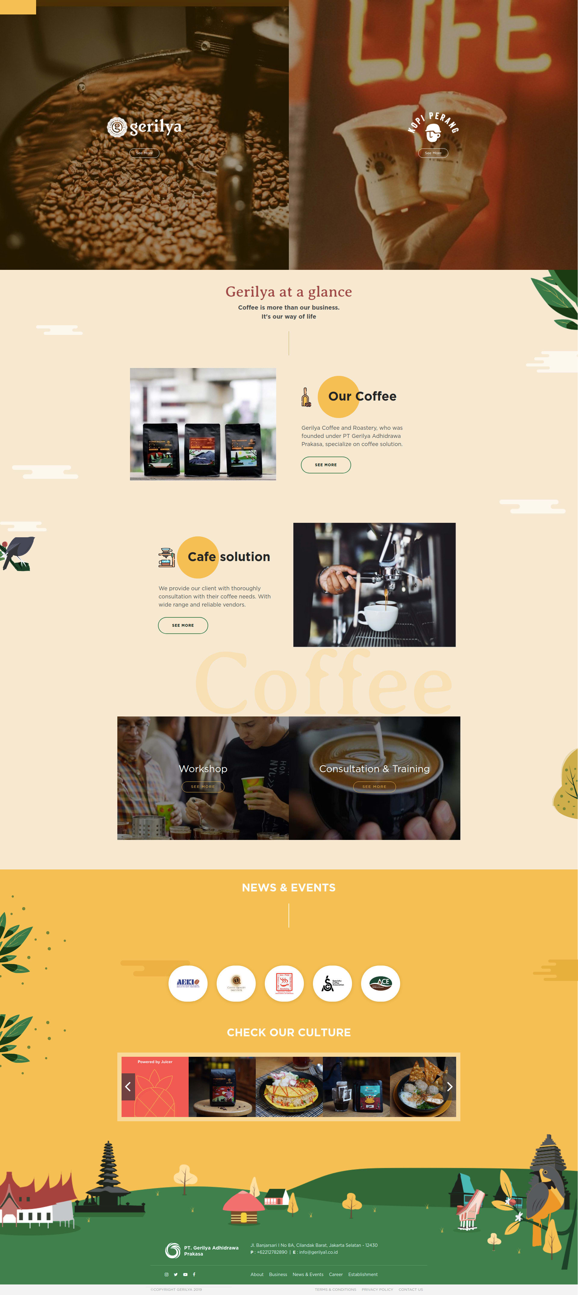 portfolio popout.id web development agency jakarta client Gerilya Coffee Website